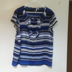 Blue White Black striped blouse